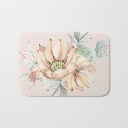 Country Cactus Coral Roses Bath Mat