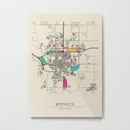 Colorful City Maps: Bismarck, North Dakota Metal Print