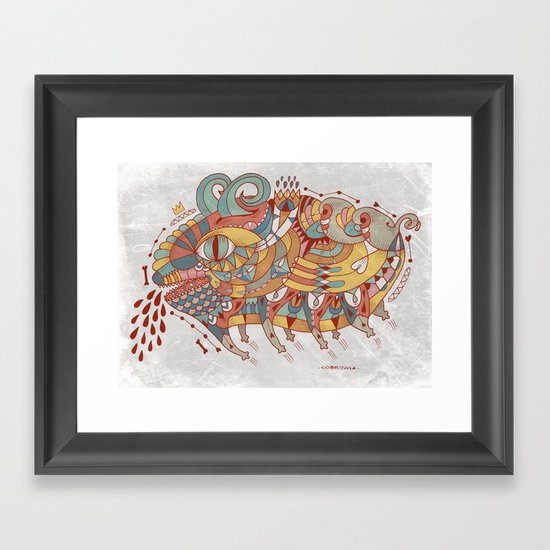 Goat Pig Monster Framed Art Print