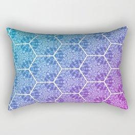 Cyan Magenta Hex Mesh Gradient Pattern Rectangular Pillow