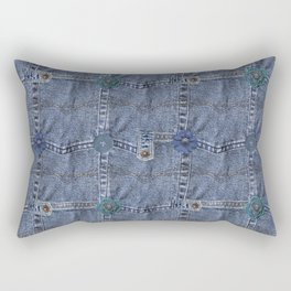 Blue Jeans Denim Pocket Patchwork Rectangular Pillow