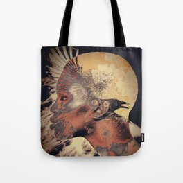PORTRAIT (Woman and bird) Tote Bag