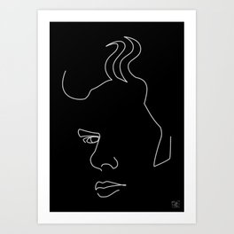Jim Jarmusch - White on black Art Print