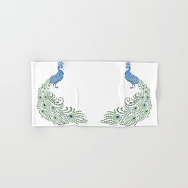 Jeweled Peacock on White Hand & Bath Towel