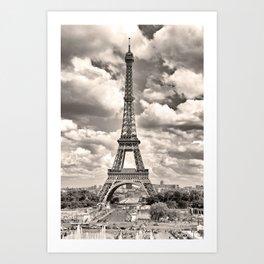 Eiffel Tower in sepia in Paris, France. Landmark in Europe Art Print