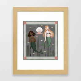 mermaid tapestry Framed Art Print