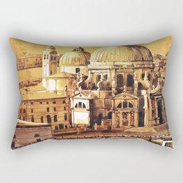 Basilica di Santa Maria in Venice, Italy.  Watercolor painting of Venice Rectangular Pillow