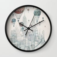 david Wall Clocks featuring Voyages Over New York by David Fleck