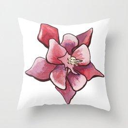 Aquilegia Columbine Flower in aquarelle Throw Pillow
