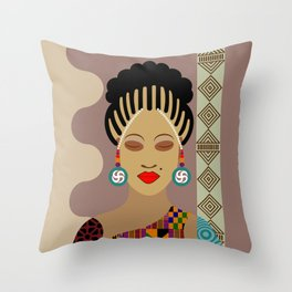 African Queen III Throw Pillow