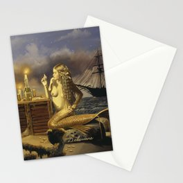 """""""The Wager"""" by David Delamare (Pirate and Mermaid playing cards) Stationery Cards"""