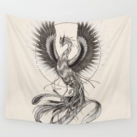 phoenix Wall Tapestries featuring Phoenix by Skollart