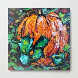 Humble Medium Pumpkin Resting in the Pumpkin Patch by annmariescreations Metal Print