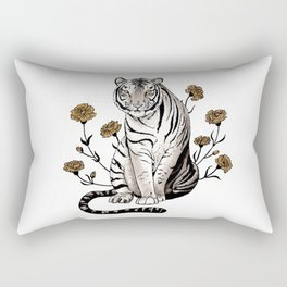 Tiger & Carnation Rectangular Pillow