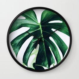 spring monstera Wall Clock
