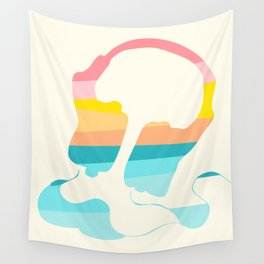 Headpones Rainbow Sunset Colors Wall Tapestry