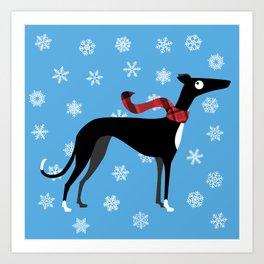 Snowy Hound Art Print