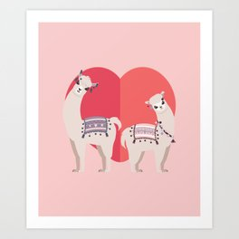 Llama and Alpaca with love Art Print