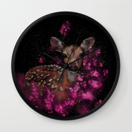 Little roe deer in pink blossoms  Wall Clock