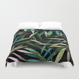Color Bamboo Leaves at Night Duvet Cover