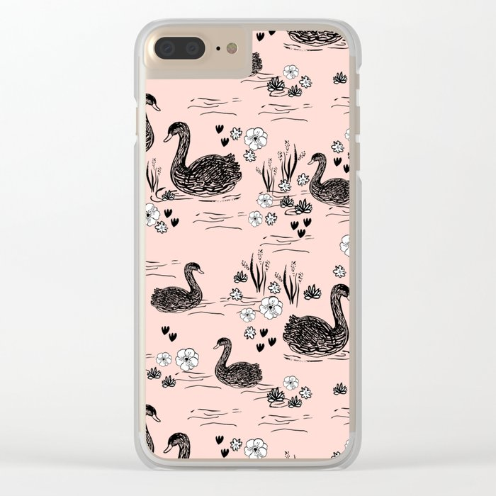 Swans painting cute girly trend cell phone case with swans pattern florals hand painted blush Clear iPhone Case
