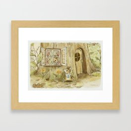 Mouse's Morning Read Framed Art Print