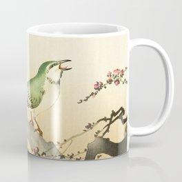 Songbird on peach tree - Vintage Japanese Woodblock Print Art Coffee Mug