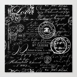 White Vintage Handwriting on Black Canvas Print