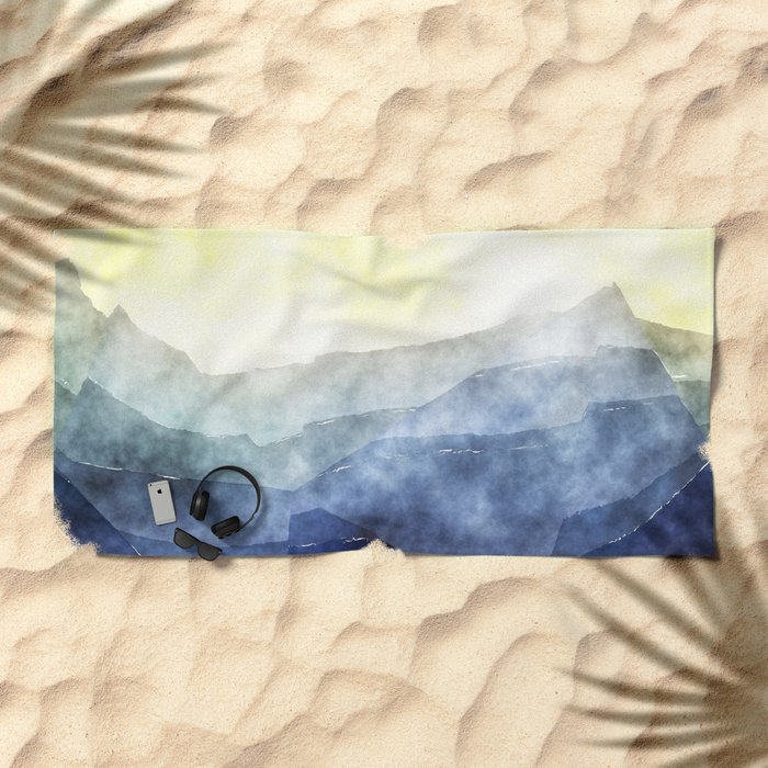 Sun behind the mountains - Modern abstract triangle Dreamscape Beach Towel