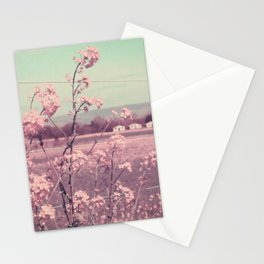 Sweet Spring (Teal Sky, Soft Pink Wildflowers, Rural Cottage) Stationery Cards