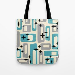 Retro Mid Century Modern Abstract Pattern 223 Blue and Gray Tote Bag