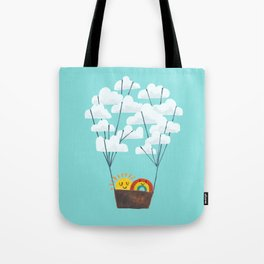 Hot cloud balloon - sun and rainbow Tote Bag