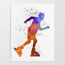 Man roller skater inline 03 in watercolor Poster