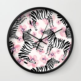 Zebra with pink flowers pattern Wall Clock