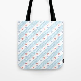 Modern coral blue watercolor handdrawn triangles chevron Tote Bag