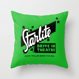 Starlite Drive In Green Throw Pillow