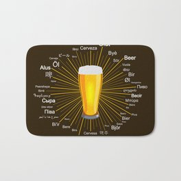 """Beer"" in 45 different languages Bath Mat"