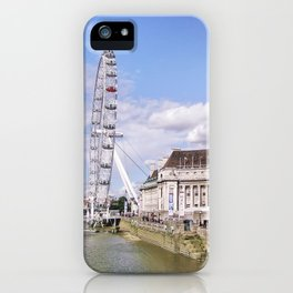 Postcard Picture of the London Eye & The Thames, bright blue tint iPhone Case