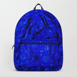 Blue Indigo Glowing Painting Moroccan Texture Style. Backpack