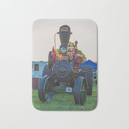 Moose traction engine at sunset Bath Mat