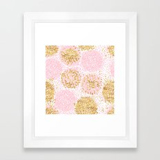Abstract flowers pink and gold Framed Art Print