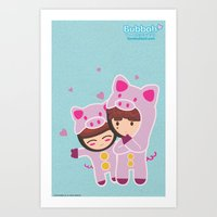 suits Art Prints featuring Piggy-Suits by I love Bubbah