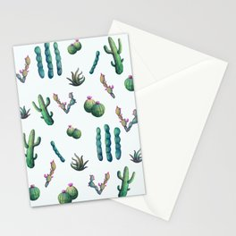 Lush  // Watercolour cacti painting pattern Stationery Cards