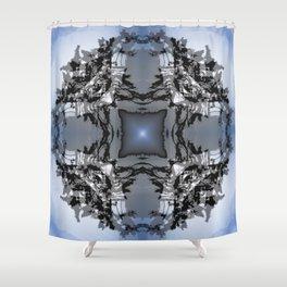 TWO WINDSWEPT DOUGLAS FIR ON THE SHORELINE Shower Curtain