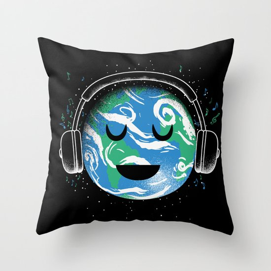 The whole planet loves music Throw Pillow