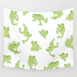 Froggy Frog large green Wall Tapestry