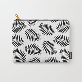Palm Leaf Pattern in Black & White Carry-All Pouch