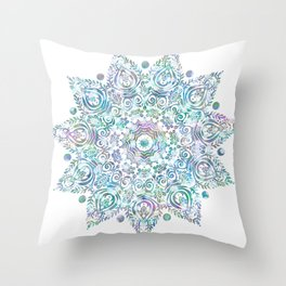 Mermaid Dreams Mandala on White Throw Pillow