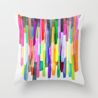 stripes Throw Pillows featuring Colorful Stripes 4 by Mareike Böhmer