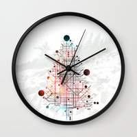 christmas tree Wall Clocks featuring Christmas Tree by ARCHIGRAF